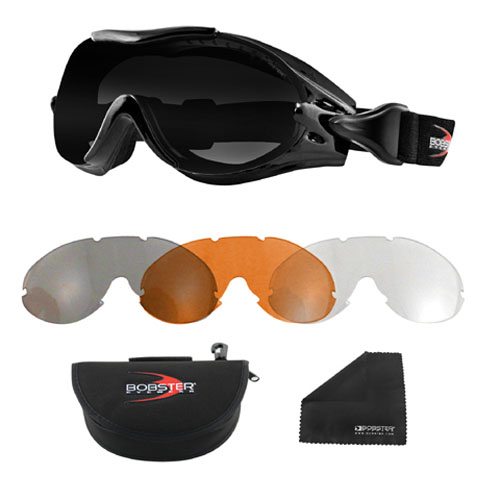 Bobster Phoenix Otg Interchangeable Goggle, 3 Lenses BPX001