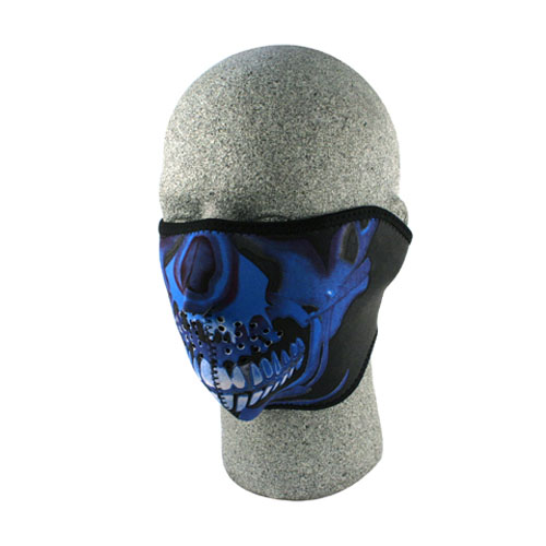 Zanheadgear Neoprene 1/2 Face Mask, Blue Chrome Skull WNFM024H