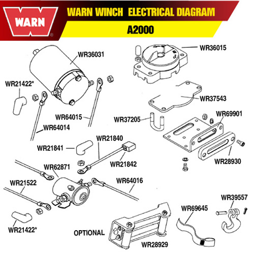 a2000 series electrical pa warn winch hawse fairlead mounting plate 2500 Warn Winch Wiring Diagram at bakdesigns.co